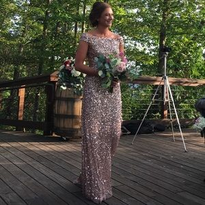 Adrianna Papell off shoulder sequin beaded gown